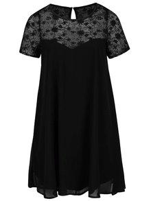 Černé plus size šaty s průsvitným květovaným sedlem Goddiva