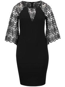 Černé plus size šaty se zvonovými rukávy Goddiva
