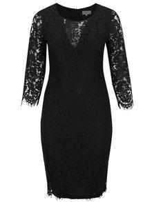 Černé krajkové plus size šaty s dlouhým rukávem Goddiva