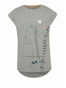 Sivé melírované dievčenské tričko s potlačou 5.10.15.