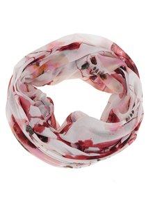 Bílo-červený květovaný dutý šátek Pieces Jemi Pieces Jemi