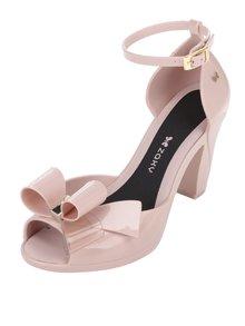 Růžové sandálky na podpatku s mašlí Zaxy