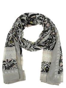 Černo-krémový dlouhý vzorovaný šátek Pieces Leona