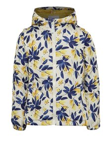 Modro-krémová kvetovaná dievčenská prešívaná nepremokavá bunda/vesta 2v1 5.10.15.