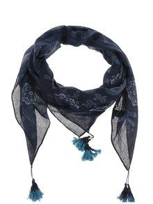 Tmavě modrý vzorovaný šátek se střapci Pieces Sikka