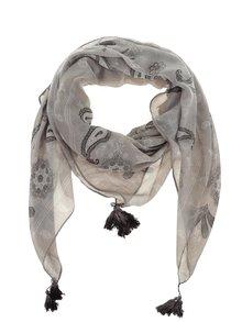 Šedý vzorovaný šátek se střapci Pieces Sikka