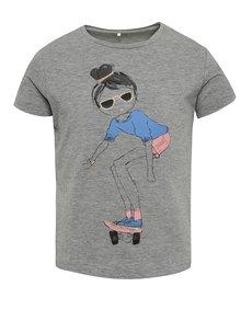 Tricou gri cu print Name It Jigirl pentru fete