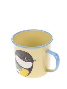 Žltý plechový hrnček s motívom vtáka Gift Republic