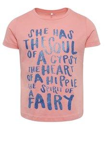 Tricou roz cu print Name It Kira pentru fete