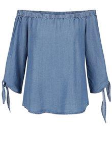 Modrý rifľový top s odhalenými ramenami ONLY India
