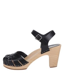 Sandale negre sabot din piele cu toc Swedish Hasbeens Fredrica