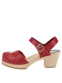 Sandale sabot din piele cu toc Swedish Hasbeens Peep Toe High