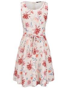 Krémové kvetované šaty bez rukávov ONLY Kiss