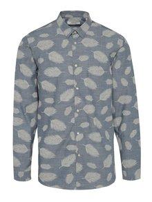 Modrá vzorovaná slim fit košile Jack & Jones Leaf