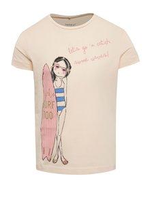 Svetloružové dievčenské tričko s potlačou name it Jigirl