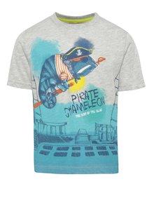 Tyrkysovo-sivé chlapčenské tričko s potlačou Bóboli