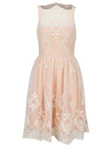 Krémovo-růžové šaty s výšivkou AX Paris