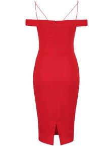 Červené šaty s odhalenými rameny a tenkými ramínky AX Paris