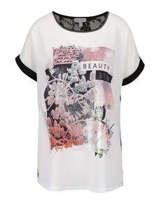 Bluză crem&negru Gina Laura cu print și aplicație din dantelă