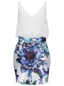 Modro-krémové šaty s kvetovanou sukňou AX Paris