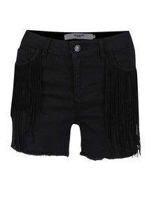 Pantaloni scurți negri VERO MODA Be Seven cu franjuri