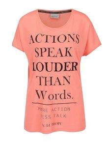 Ružové voľné tričko s potlačou VERO MODA Randi Actions
