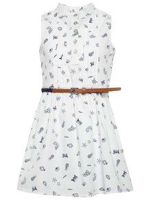 Biele vzorované dievčenské šaty s opaskom Bóboli