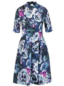 Zeleno-modré květované šaty se stojáčkem Closet