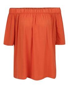 Oranžová voľná blúzka s odhalenými ramenami Broadway Eos