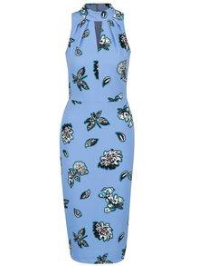 Modré květované šaty se stojáčkem Closet