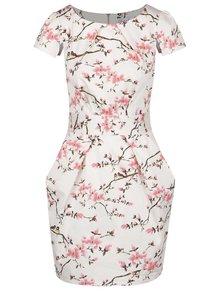 Krémové kvetované puzdrové šaty so zaväzovaním Closet