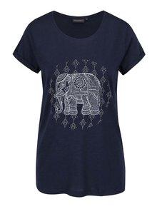 Modré dámske tričko s potlačou slona Broadway Ebony