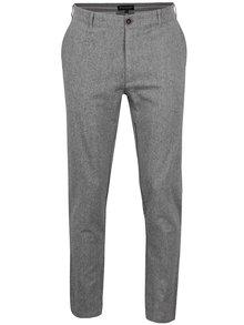 Šedé žíhané pánské lněné kalhoty Broadway Dennis