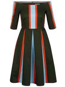 Modro-zelené pruhované šaty s lodičkovým výstřihem Closet