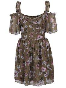 Kaki kvetované šaty s odhalenými ramenami Miss Selfridge