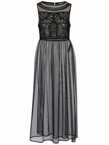 Čierne priesvitné maxišaty s vyšívanými detailmi Miss Selfridge