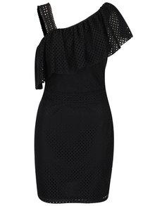 Černé perforované šaty přes jedno rameno Miss Selfridge