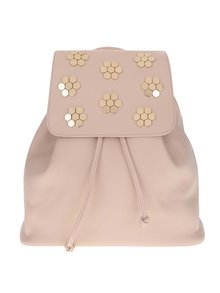 Růžový batoh s aplikací ve zlaté barvě Miss Selfridge