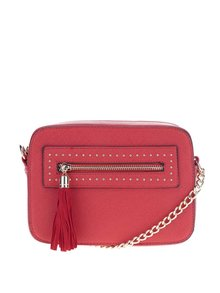 Červená crossbody kabelka so strapcom Miss Selfridge