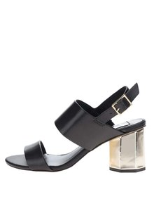 Sandale negre Miss Selfridge cu toc auriu hexagonal