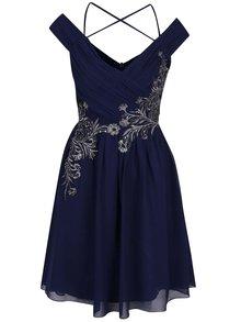 Tmavomodré šaty s výšivkou v striebornej farbe Little Mistress
