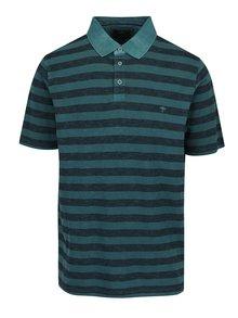 Tricou polo verde închis Fynch-Hatton din bumbac cu model în dungi și logo