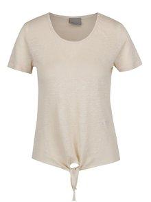 Béžové ľanové tričko s uzlom VERO MODA Reza