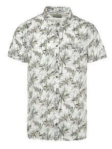 Cămașă alb&kaki Blend cu mâneci scurte și imprimeu tropical