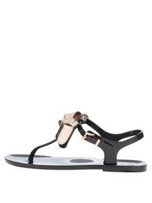 Sandale flip-flop negre Ted Baker cu fundă oversized