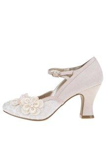 Pantofi cu toc crem Ruby Shoo Amelia cu detalii din piele întoarsă
