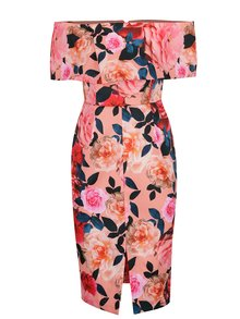 Růžové květované šaty s odhalenými rameny Dorothy Perkins