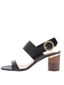 Sandale negre din piele Ted Baker cu toc masiv