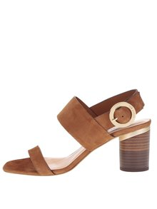 Hnedé semišové sandále na okrúhlom podpätku Ted Baker