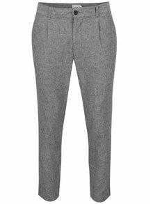 Tmavě šedé žíhané lněné kalhoty ONLY & SONS Hale
